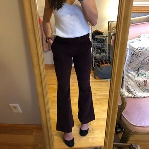 Express maroon corduroy bell flare high rise pants